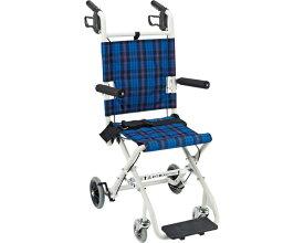 簡易車いす コンパクト車椅子 のっぴープラス NP-001NC ネイビーチェック マキテック車椅子 車イス 車いす 軽量 介護用品 軽量 折り畳み 簡易車椅子 旅行 持ち運び