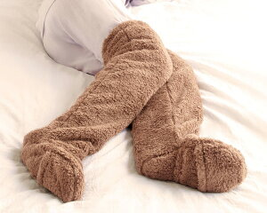 レッグウォーマー 極暖 足が出せるロングカバー(1足組)AP-618300 アルファックス防寒 ソックス 靴下 くつ下 毛布 冷え症 冷え対策 寒さ対策 冬 末端冷え性 ふわふわ 便利グッズ 高齢者 女性