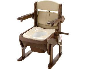 木製きらく 片付け簡単トイレ 肘掛跳ね上げ 暖房便座 19226 リッチェルポータブルトイレ 木調 トイレ 在宅介護 シニア 高齢者 介護用品 福祉用具