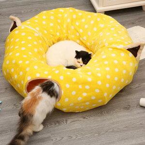 Panni 猫 トンネル ハウス 遊び場 ベッド 毛玉ボール付き 折り畳み可 進化版 選べる2色 多数猫適用