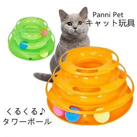 猫 おもちゃ ボール玩具 キャット くるくるタワー 回転 運動不足解消 タワー 電池不要 ねこ ネコ 回る 遊ぶ盤 送料無料