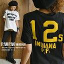 bob PAOPAO オリジナル ナンバリング フェルトワッペン ロゴ Tシャツ【カレッジ 半袖 両面 アメカジ かわいい ナチュ…