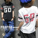 GO PAOPAO オリジナル 袖ライン カレッジ ロゴプリント チェーン刺繍 フットボール Tシャツ【半袖 バックプリント ア…