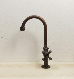 レトロ 蛇口 グースネック(ブロンズ 手洗い鉢 手洗い器用の水栓金具