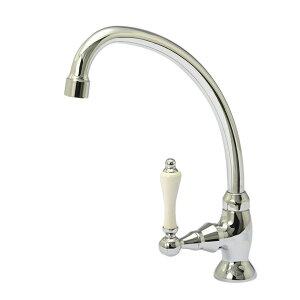 【水栓金具】レバーフォーセットCL単水栓(クロム)|アンティークな立水栓(洗面所・手洗いの蛇口)