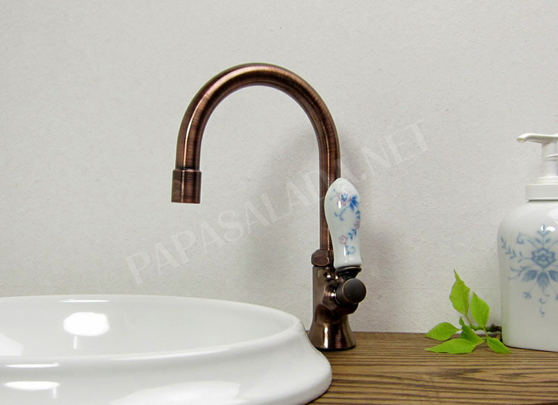 【送料無料】蛇口 水栓金具 PIVOT(ピヴォ)スワン立水栓/レバーハンドル・ブロンズ おしゃれな水栓ハンドル