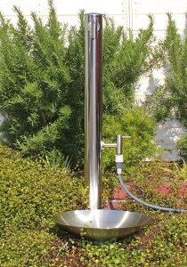 【fusion】ガーデン水栓(ロング&ショート)&ステンレス水栓柱(丸型,分水孔付き)&ステンレス水鉢セット