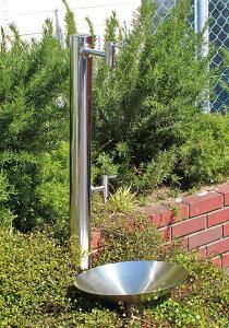 【fusion】ステンレス・ガーデン水栓(ロング&ショート)&ステンレス水栓柱(丸型,分水孔付き)セット