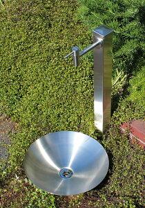 【fusion】ステンレス・ガーデン水栓(ロング)&ステンレス水栓柱(角型,60角,H900)&水鉢セット