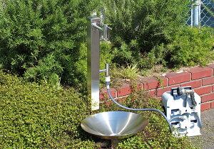 【fusion】ステンレス・ガーデン水栓(ロング&ショート)&ステンレス角型水栓柱(分水孔付き)&ステンレス水鉢セット