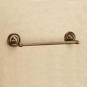 640612 お洒落な真鍮製タオル掛け・タオルバー36(アンティークブラス)|アンティーク調ダークブラウン