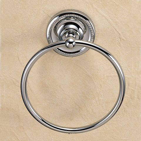 640730 おしゃれな真鍮製タオル掛け・タオルリングL(ヴィクトリアン・クロム)|アンティーク調シルバー色【05P03Dec16】