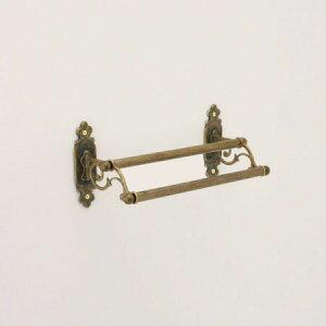 640314 真鍮製ダブルタオルバー36・2連タオル掛け(クラシック・アンティークブラス)|アンティーク調ゴールド