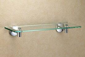 640630 おしゃれな真鍮製ガラスシェルフ(スタンダード・クロム)|レトロ調シルバー色