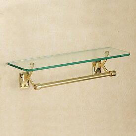 640711 おしゃれな金色のタオルバー付ガラスシェルフ(スタンダード・ブラス)|ゴールド色