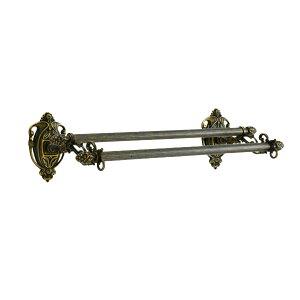 640363 真鍮製ダブルタオルバー36(アルベリティ・アンティークブラス)|ヨーロピアン調クラシックデザインの2段のタオル掛け