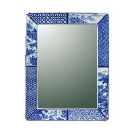 【有田焼】伊万里焼 染付祥瑞 鏡(角型) ART1-GL004 (H550×W360)鮮やかな染付の藍色 壁掛け ミラー 洗面所 手洗い リビング