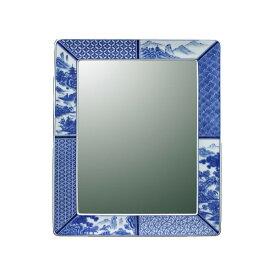 【有田焼】伊万里焼 染付祥瑞 鏡(角型) ART1-GL005 (H450×W350) 鮮やかな染付の藍色 壁掛け ミラー 洗面所 手洗い リビング