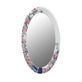 【有田焼】伊万里焼 染錦金彩桜絵 鏡(楕円) ART2-GL001 (H1050×W650) 美しく華やかな桜 壁掛け ミラー 玄関 洗面所 リビング