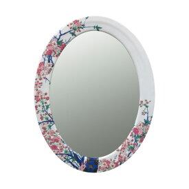 【有田焼】染錦金彩桜絵 鏡(楕円) ART2-GL002 (H800×W490) 美しく華やかな桜 壁掛け ミラー 玄関 洗面所 リビング