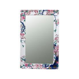 【有田焼】伊万里焼 染錦金彩桜絵 鏡(角型) ART2-GL004 (H550×W360) 美しく華やかな桜 壁掛け ミラー 玄関 洗面所 リビング 手洗い場