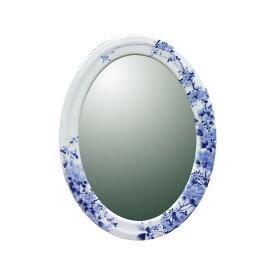 【有田焼】伊万里焼 染付大正ロマン 鏡(楕円)ART3-GL003(H570×W430) 壁掛けミラー 玄関 洗面所 リビング 手洗い場