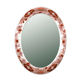 【有田焼】伊万里焼 錦鉄線花絵 鏡(楕円) ART4-GL002 (H800×W490)壁掛け ミラー 玄関 洗面所 リビング