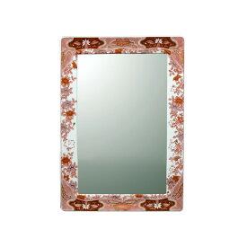 【有田焼】伊万里焼 錦鉄線花絵 鏡(角型) ART4-GL005 (W450×H350)壁掛け ミラー 玄関 洗面所 リビング