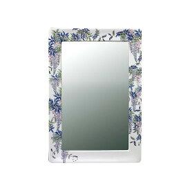 【有田焼】伊万里焼 染付藤絵 鏡(角型) ART5-GL005 (450×350)壁掛けミラー 玄関 洗面所 リビング 手洗い場