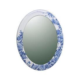 【有田焼】伊万里焼 染付薔薇絵(そめつけばらえ) 鏡(楕円)ART6-GL003(H570×W430)壁掛けミラー 玄関 洗面所 リビング 手洗い場