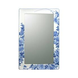 【有田焼】伊万里焼 染付薔薇絵(そめつけばらえ) 鏡(角型・H550×W360)ART6-GL004 壁掛けミラー 玄関 洗面所 リビング 手洗い場