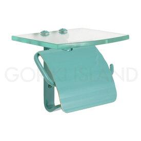 ガラスシェルフ 棚付き 真鍮 レトロ トイレットペーパーホルダー(スタンダード・メイグリーン) 640466