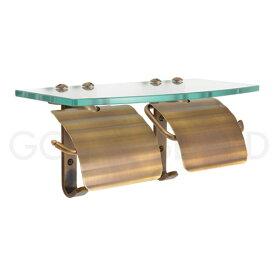 ガラスシェルフ 棚付き 真鍮 レトロ ダブルトイレットペーパーホルダー スタンダード・アンティークブラス 640468