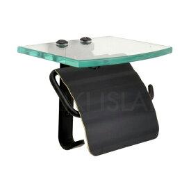 ガラスシェルフ 棚付き 真鍮 トイレットペーパーホルダー スタンダード・ブラック 640719