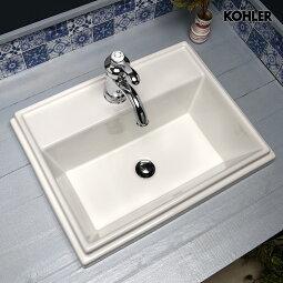 KOHLERコーラー社蛇口・オーバーカウンター型洗面器・上部排水金具3点セット