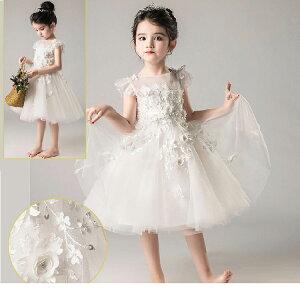 結婚式 刺繍 ドレス子供 ドレス子供 子供ドレス ドレスワンピース 手作り ベビードレス 花柄 ピアノ発表会 演奏会 お宮参り