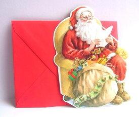 わずかのみ入荷! USA Carol Wilson キャロルウィルソンダイカットクリスマスカード サンタ Santa Reading List