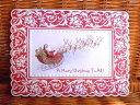 Carol Wilson キャロルウィルソンクリスマスカード 大判 そりに乗ったサンタさん Flying Sleight Red Lace