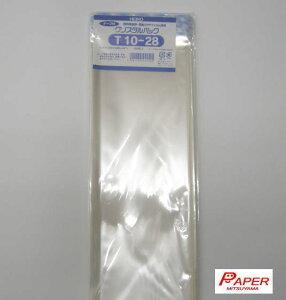 T10-28 HEIKO クリスタルパックTテープ付き巾100mm *高さ280mm +40mm 厚0.03mm 100枚入 化成品袋 OPP袋 透明ポリ ポリ袋 ポリプロピレン