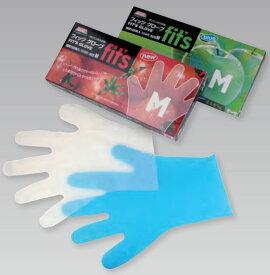 あす楽 ポリエチレン手袋 ポリ手袋 100枚入 透明 ブルー NEW FITSグローブ S M L スズカ未来