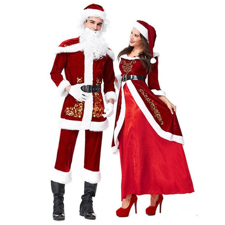 サンタクロース 衣装 コスチューム 大人用 メンズ コスプレ 衣装 セット もこもこ 大きいサイズ サンタ衣装 クリスマス 帽子 長袖 パンツ ワンピース ベルト サンタコス 可愛い サンタ仮装 パーティー衣装 イベント プレゼント