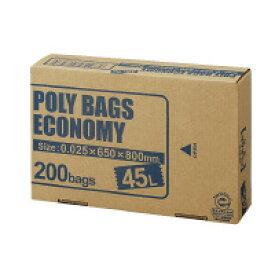 オルディ (PBE-N45-200) ポリバッグエコノミー BOX 透明 45L 200枚☆
