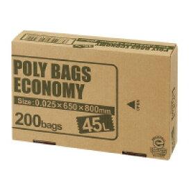 オルディ (PBE-W45-200) ポリバッグエコノミー BOX 乳白半透明 45L 200枚☆