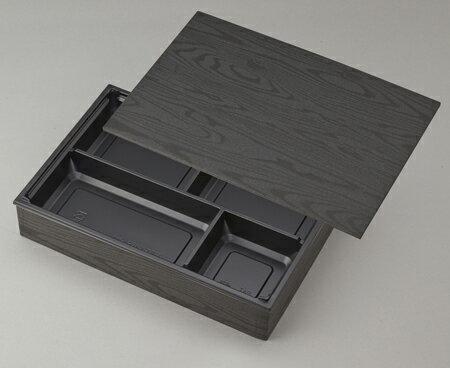 【高級弁当】ワン折重90×60黒焼杉/J-4黒底/共蓋(100セット)【弁当容器4つ仕切】