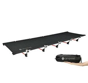 Campsnail コット キャンプ 折りたたみ ベッド キャンピングベッド アウトドア 簡易 コンパクト 耐荷重150kg 航空7075アルミ テントコット 持ち運びやすい 収納袋付き (ブラック)