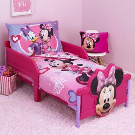 【P2倍・06/01限定+クーポン有】ディズニー ミニーマウス 子供 寝具 4点 セット トドラーベッディング CrownCrafts
