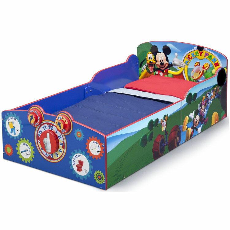 【ママ割エントリーでP5】 デルタ ディズニー ミッキーマウス ウッデン 子供用 ベッド 男の子 1歳半から