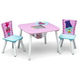 デルタ トロールズ ミュージック パワー テーブル&チェア 収納付き 子供家具 学習机 椅子 3点セット トロール TROLLS Delta