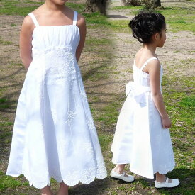 【Fashion THE SALE】子供ドレス フォーマル 女の子 90-115cm ホワイト ヘンリー
