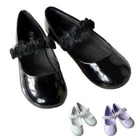 【8月15日限定ポイント5倍】フォーマル 靴 女の子 13-17.5cm ホワイト ピンク ラベンダー ブラック フラット シューズ